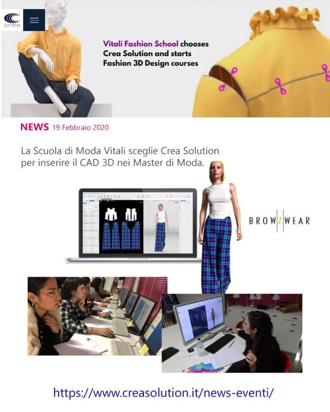 scuola di moda, rassegna stampa, crea solution 3D